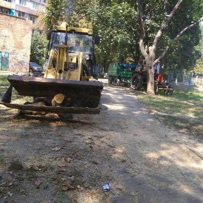 Прибирання та вивезення стовбурів дерев на вулиці Зодчих